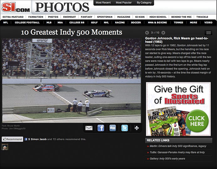 S.I. Indy Third Greatest Photograph in 100 years © DiMaggio