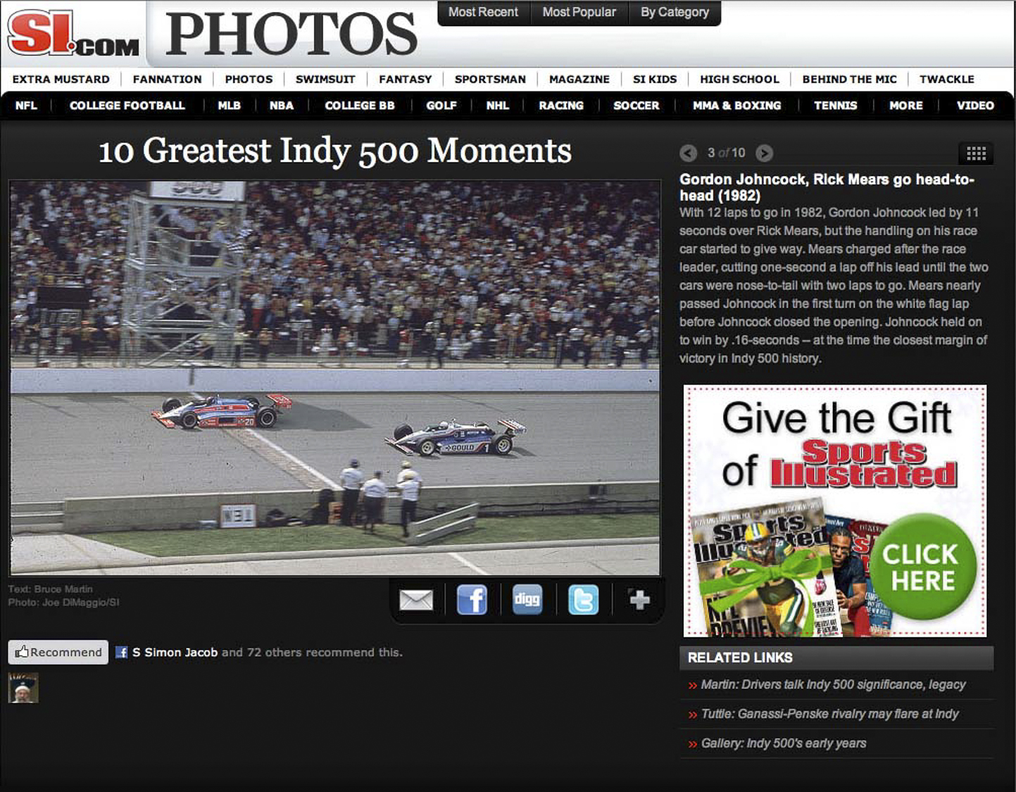 S.I. Indy Third Greatest Photograph in 100 yearsR